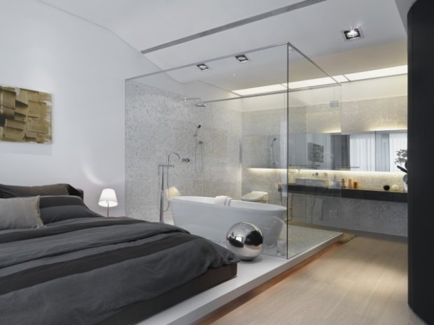 ... Modern Bathroom Inside Bedroom With Glass Wall · Schlafzimmer ...